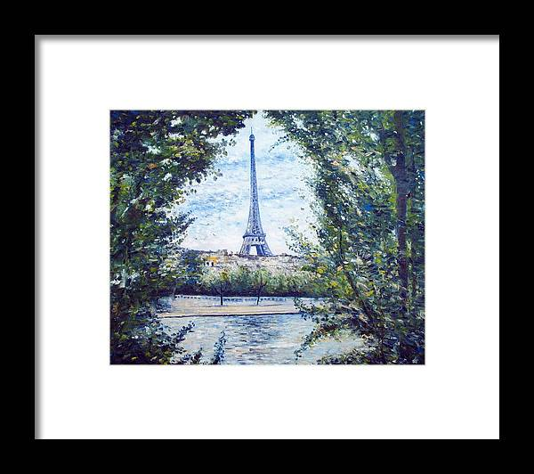 Paris France Framed Print featuring the painting Eiffel Tower Paris France 2001  by Enver Larney