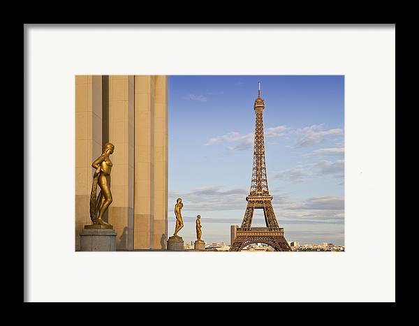 Historic Framed Print featuring the photograph Eiffel Tower Paris Trocadero by Melanie Viola