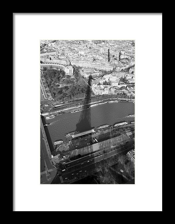 Eiffel Tower Framed Print featuring the pyrography Eiffel Tower Shadow by Keith O Rahilly