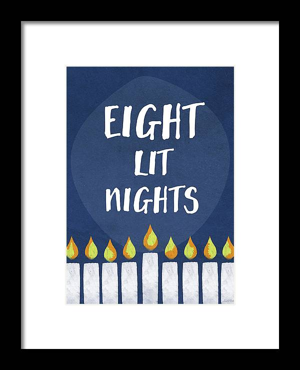 Hanukkah Framed Print featuring the mixed media Eight Lit Nights- Hanukkah Art By Linda Woods by Linda Woods