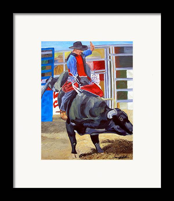 Bull Riding Framed Print featuring the painting Eight Long Seconds by Michael Lee