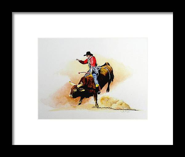 Cowboy Framed Print featuring the painting Eight Second Shift by Jimmy Smith