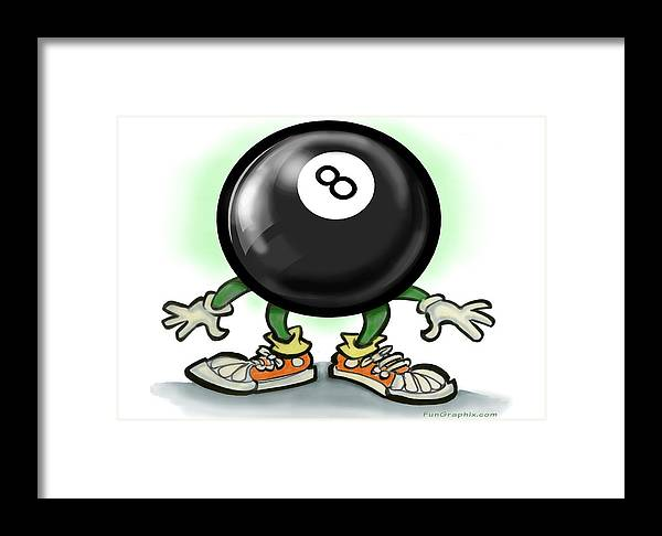 Eightball Framed Print featuring the greeting card Eightball by Kevin Middleton