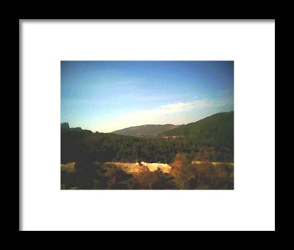 Sky.blue.little Clouds.foresty Hills.low Hills.forest.valley.trees.rest.silence.calm. Framed Print featuring the digital art Ein-kerem Valley by Dr Loifer Vladimir
