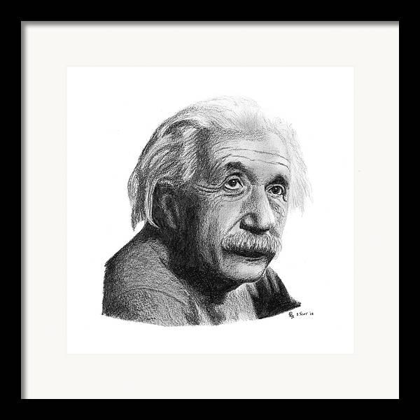 Einstein Framed Print featuring the drawing Einstein by Charles Vogan