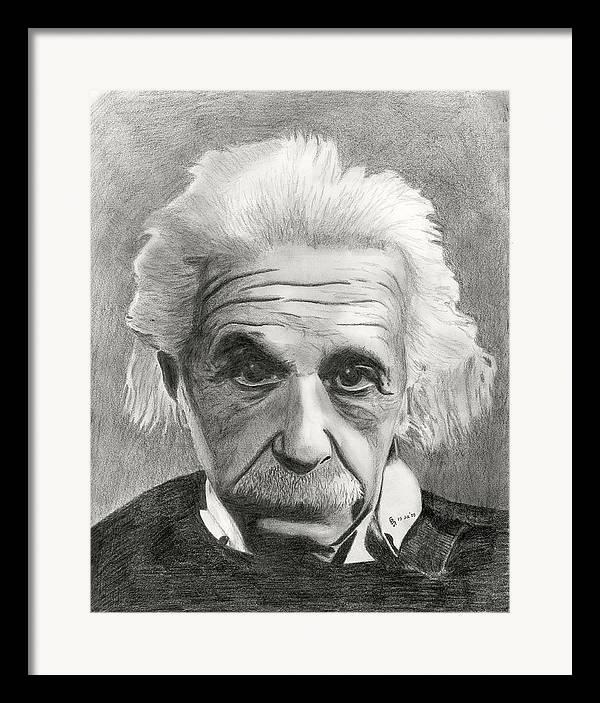 Einstein Framed Print featuring the drawing Einstein's Eyes by Charles Vogan