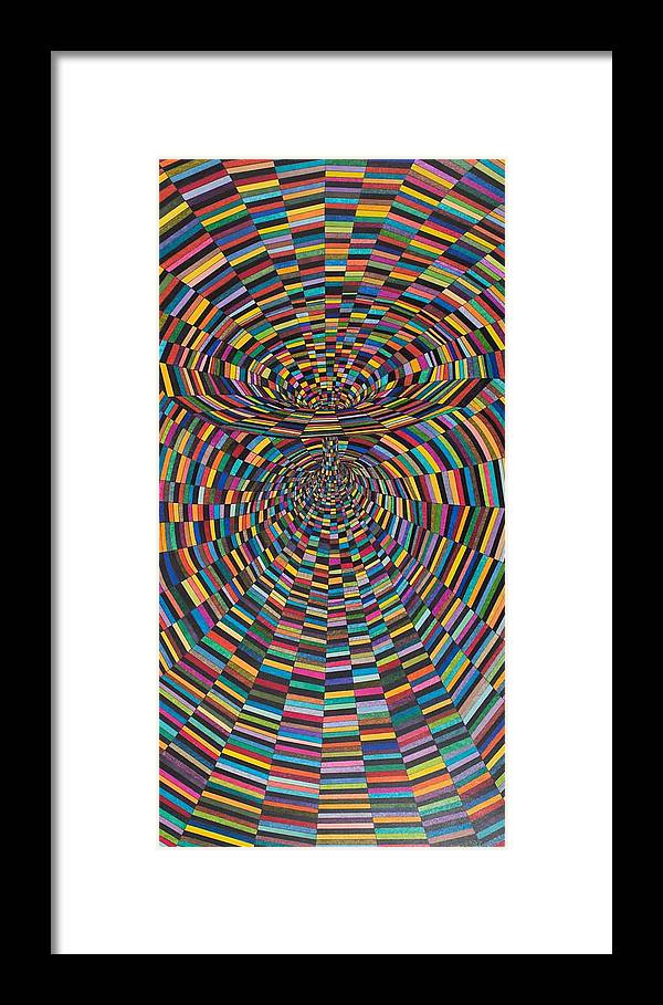 Synesthetic Painting Made Based On Studies Of Albert Einstein Vacuum Field For Black Holes Framed Print featuring the painting Einstein's Vacuum Field by George Sanen