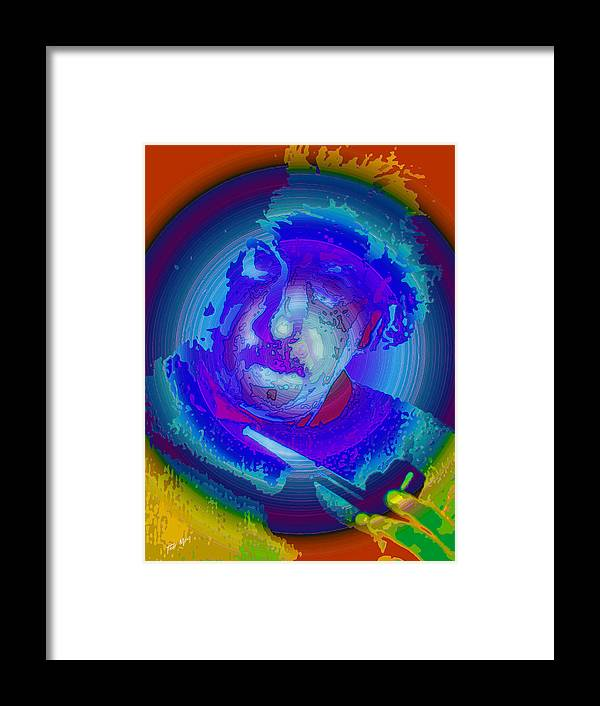 Einstein Framed Print featuring the painting Einstien Red White And Blue by Tray Mead