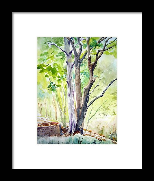 Landscape Framed Print featuring the painting Ekant Park 10 by Prabhu Dhok