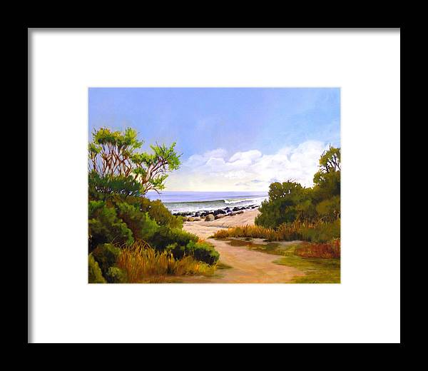 Wave Framed Print featuring the painting El Capitan Beach by Dorothy Nalls