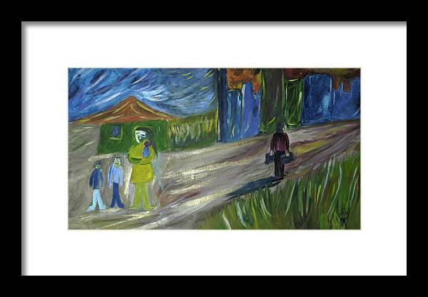 Landscape Framed Print featuring the painting El Dia Mas Oscuro by Johnny Aguirre