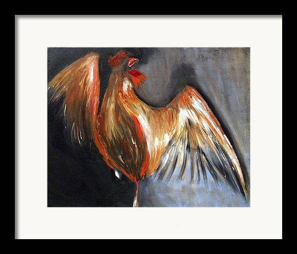 Rooster Chicken Red Framed Print featuring the painting El Gallo by Niki Sands