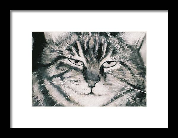 Close Up Of Tabby Cat Framed Print featuring the painting El Gato by Billie Colson