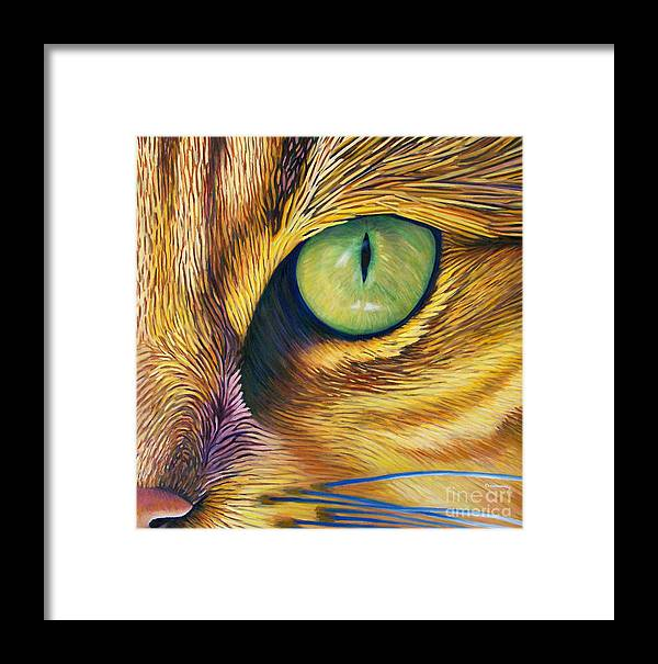 Cat Framed Print featuring the painting El Gato by Brian Commerford