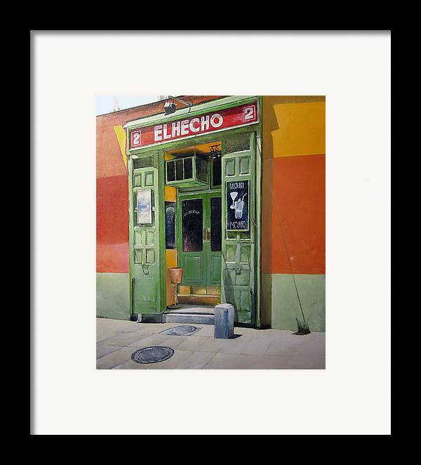 Hecho Framed Print featuring the painting El Hecho Pub by Tomas Castano