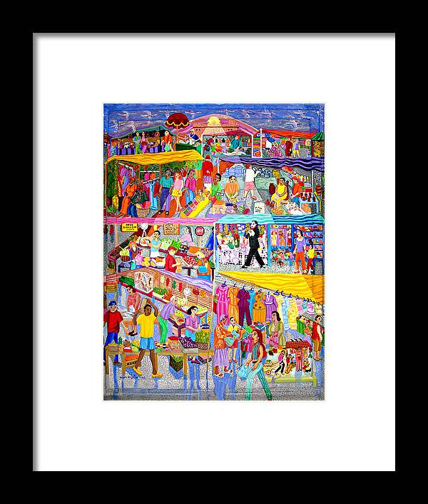 Mercado Framed Print featuring the painting El Mercado by Maria Alquilar