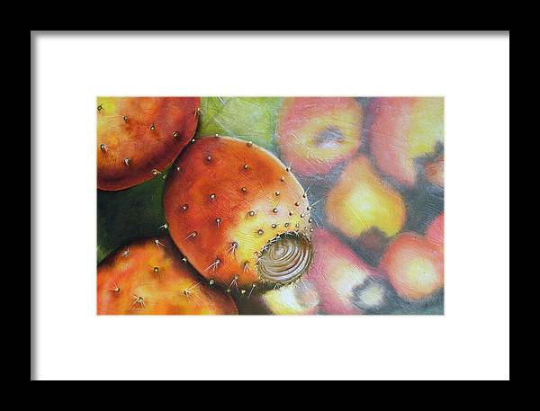 Tunas Framed Print featuring the painting El Mercado by Maribel Garzon
