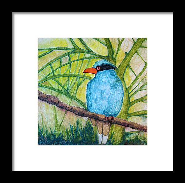 Nature Framed Print featuring the painting El Pajaro Del Agua Azul by Patricia Arroyo