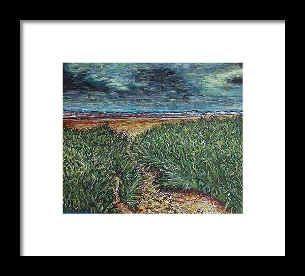 Landscape Framed Print featuring the painting El Viento Del Mar by Robbie Potter