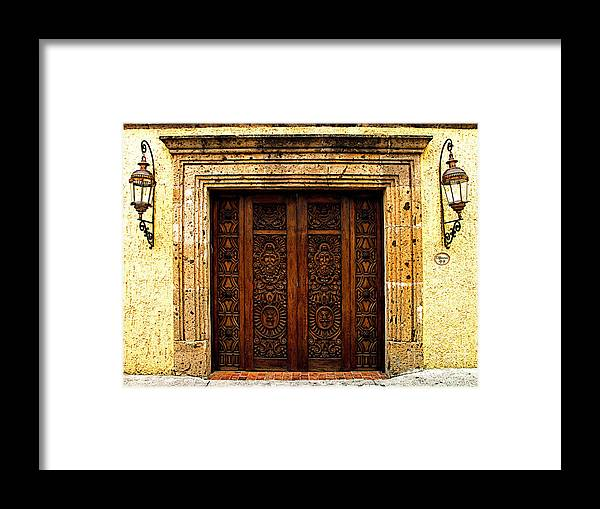 Tlaquepaque Framed Print featuring the photograph Elaborate Puerta by Mexicolors Art Photography