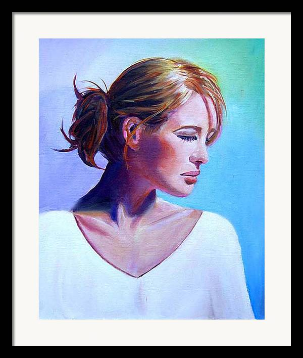 Portrait Of A Beautiful Woman Framed Print featuring the painting Elaine by George Markiewicz