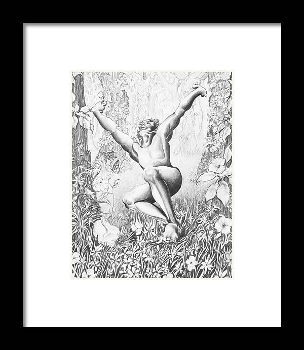 Flower Framed Print featuring the drawing Elation by Victoria Shea