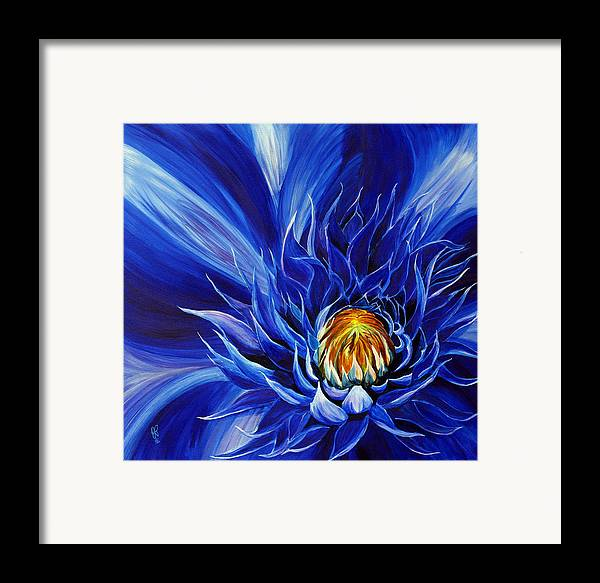 Macro Flower Framed Print featuring the painting Electric Blue by Julie Pflanzer