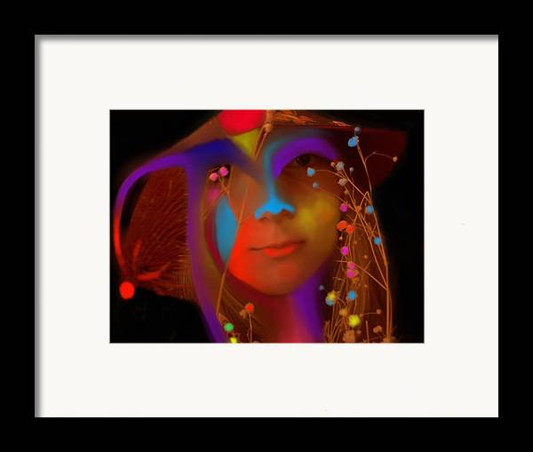 Face Framed Print featuring the digital art Electric Compassion by Peter Shor
