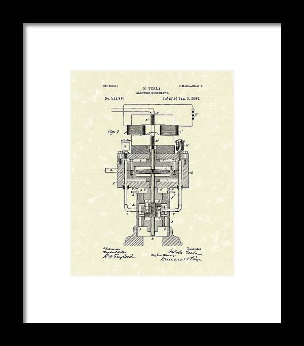 Tesla Framed Print featuring the drawing Electric Generator 1894 Patent Art by Prior Art Design
