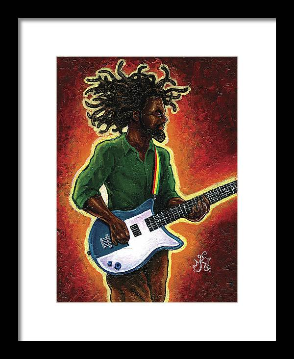 Guitar Framed Print featuring the painting Electric by Marcus Anderson