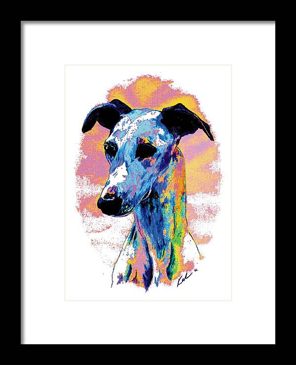 Electric Whippet Framed Print featuring the digital art Electric Whippet by Kathleen Sepulveda