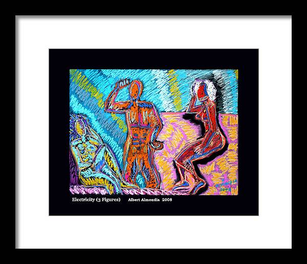Figurative Framed Print featuring the painting Electricity - 3 Figures by Albert Almondia