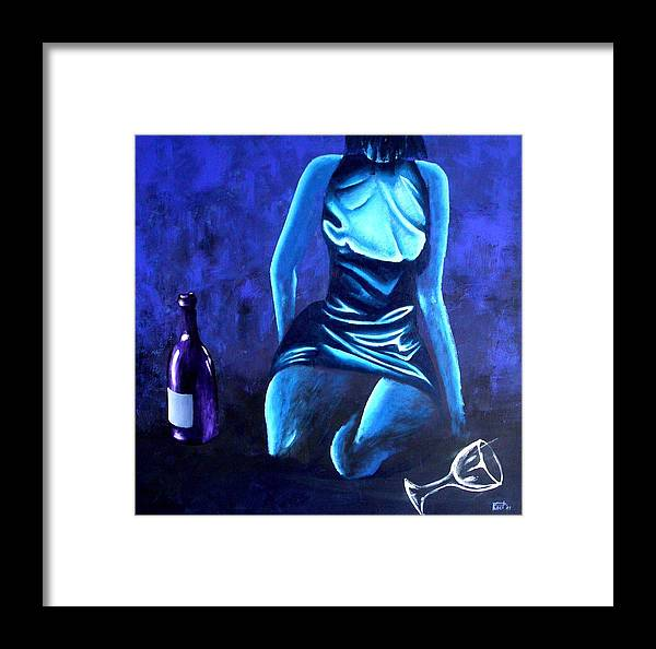Women Framed Print featuring the painting Electrique by Poul Costinsky