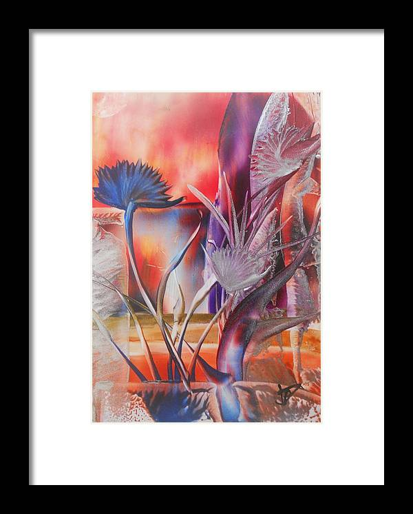 Abstract Floral Framed Print featuring the painting Elegant by John Vandebrooke