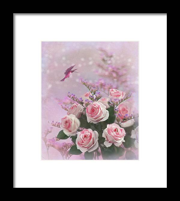 Roses Framed Print featuring the digital art Elegant Roses-1 by Nina Bradica
