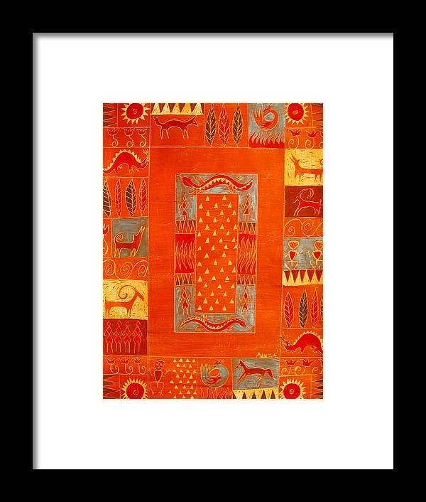 Fire Framed Print featuring the painting Element Fire II by Aliza Souleyeva-Alexander