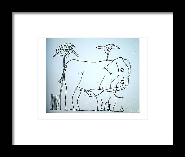Baby Framed Print featuring the drawing Elepahant And Baby by Hal Newhouser