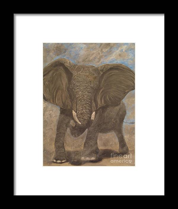 Elephant Framed Print featuring the painting Elephant Charging by Nick Gustafson