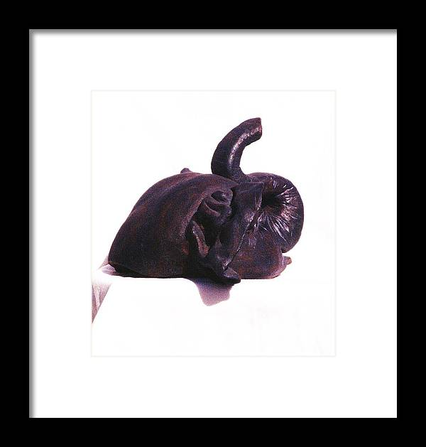 Elephant Framed Print featuring the photograph Elephant Head Sculpture Side View by Jamey Balester