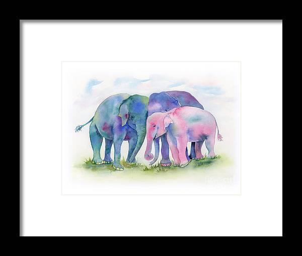 Elephant Framed Print featuring the painting Elephant Hug by Amy Kirkpatrick