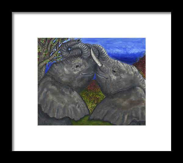 Elephants Framed Print featuring the painting Elephant Hugs by Tanna Lee M Wells