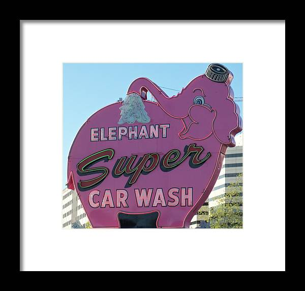 Elephant Car Wash Framed Print featuring the photograph Elephant Super Car Wash by Randall Weidner
