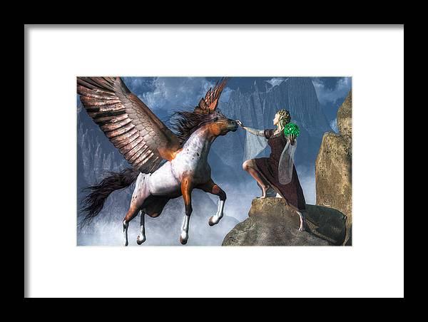 Elf Summoning A Pegasus Framed Print featuring the digital art Elf Summoning A Pegasus by Daniel Eskridge