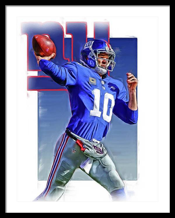 Eli Manning New York Giants Oil Art 2 by Joe Hamilton