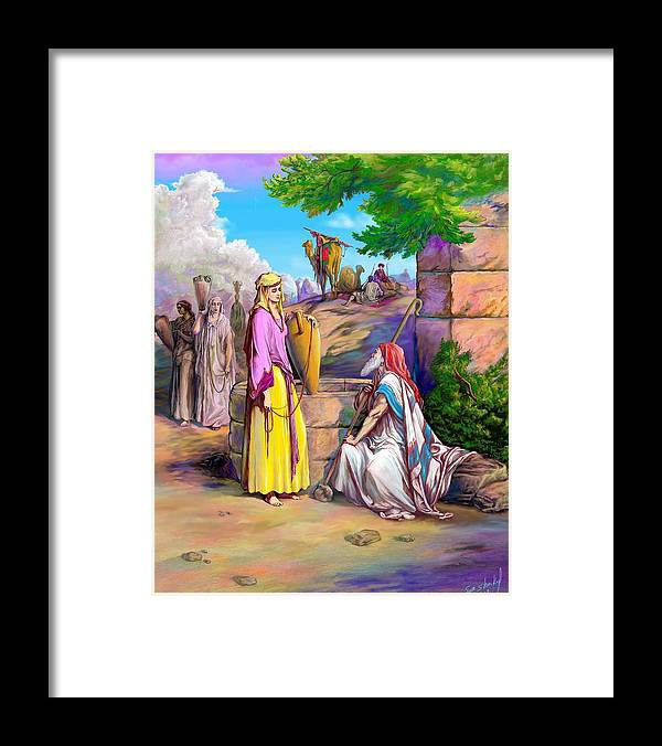 Biblical Framed Print featuring the painting Eliezer N Rebekah by Sam Shacked