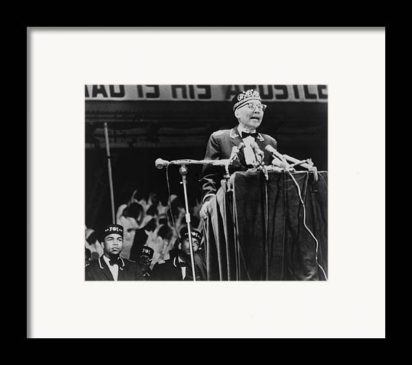 History Framed Print featuring the photograph Elijah Muhammad, Leader Of The Black by Everett