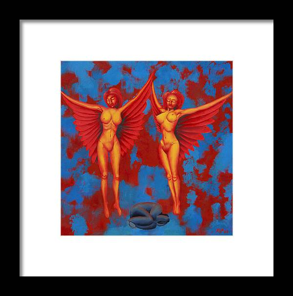 Winged Nudes Framed Print featuring the painting Elim by Poul Costinsky
