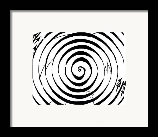 Maze Framed Print featuring the drawing Eliptical Maze by Yonatan Frimer Maze Artist