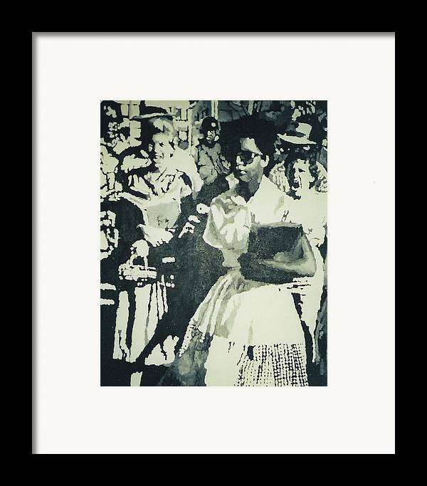 Civil Rights Framed Print featuring the painting Elizabeth Eckford Making Her Way To Little Rock High School 1958 by Lauren Luna