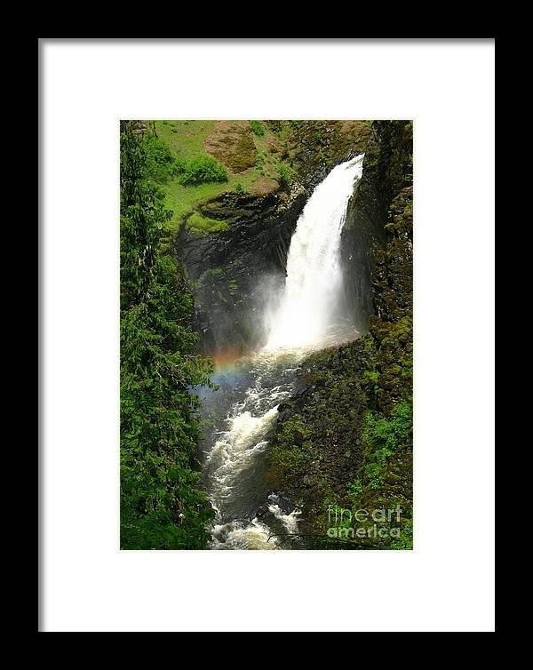 Rainbow Framed Print featuring the photograph Elk Creek Falls Rainbow by Idaho Scenic Images Linda Lantzy